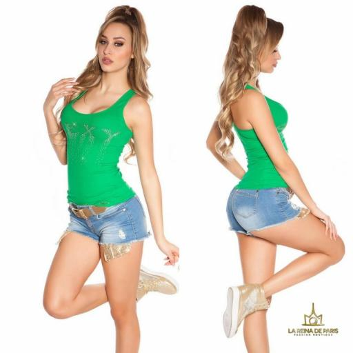Camiseta sexy con cremallera verde [2]