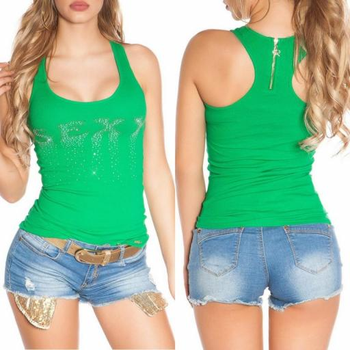 Camiseta sexy con cremallera verde [3]