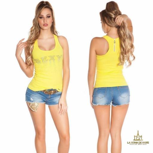 Camiseta sexy con cremallera amarillo [0]