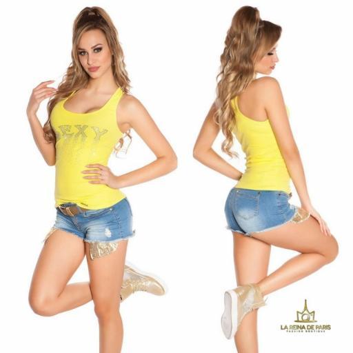 Camiseta sexy con cremallera amarillo [2]