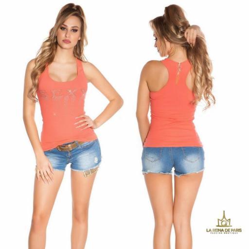 Camiseta sexy con cremallera coral