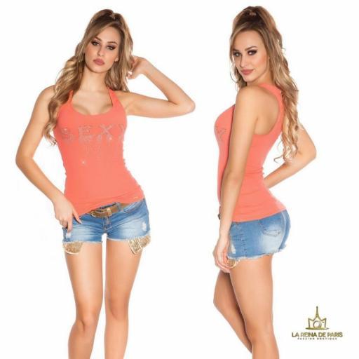 Camiseta sexy con cremallera coral [1]
