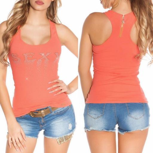 Camiseta sexy con cremallera coral [3]