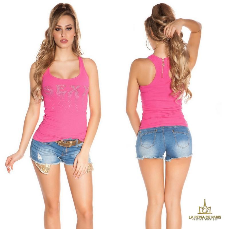 Camiseta sexy con cremallera fucsia
