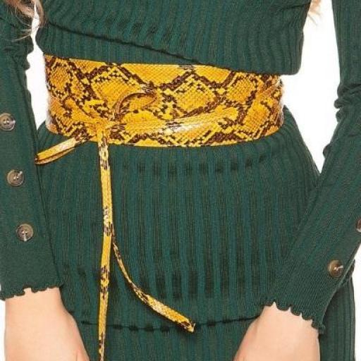 Cinturón estampado de reptil naranja [3]