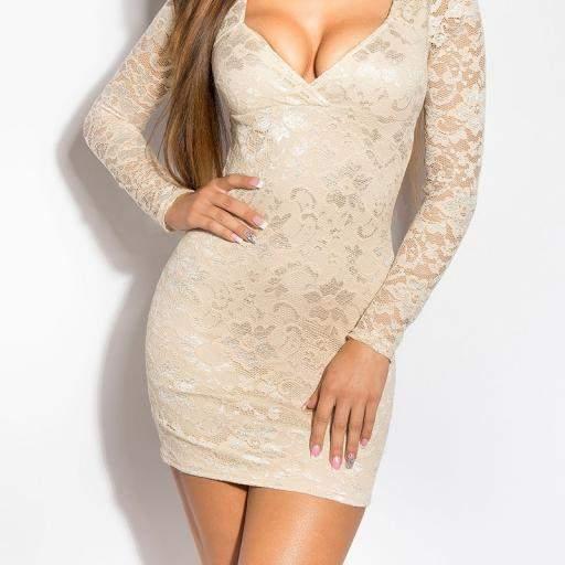 Vestido de encaje Doyi beige