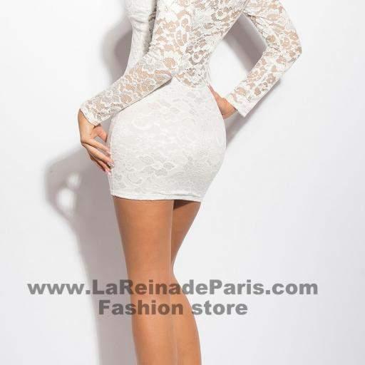 Vestido corto blanco de encaje Doyi [3]