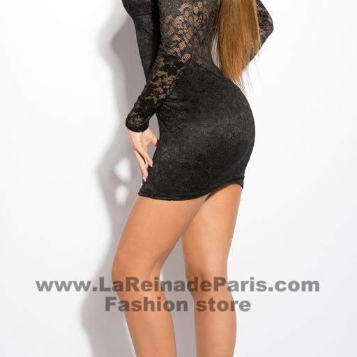 Vestido negro corto de encaje Doyi  [2]