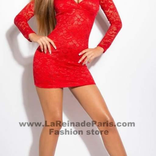 Vestido rojo corto de encaje Doyi  [3]
