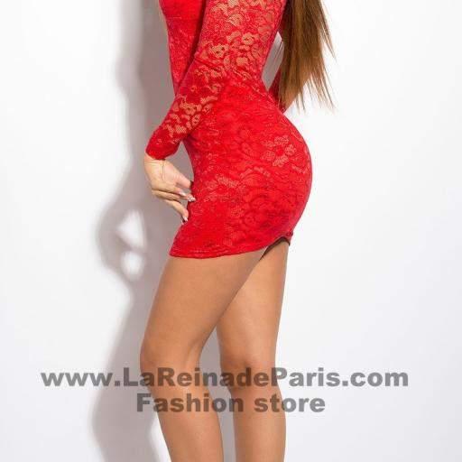 Vestido rojo corto de encaje Doyi  [2]