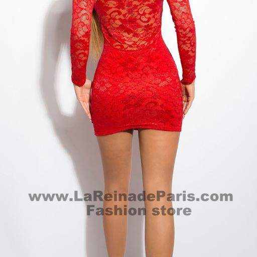 Vestido rojo corto de encaje Doyi  [1]