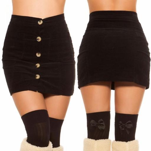Mini falda de pana de moda [3]