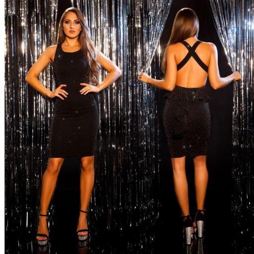 Vestido de fiesta elegante brillo negro