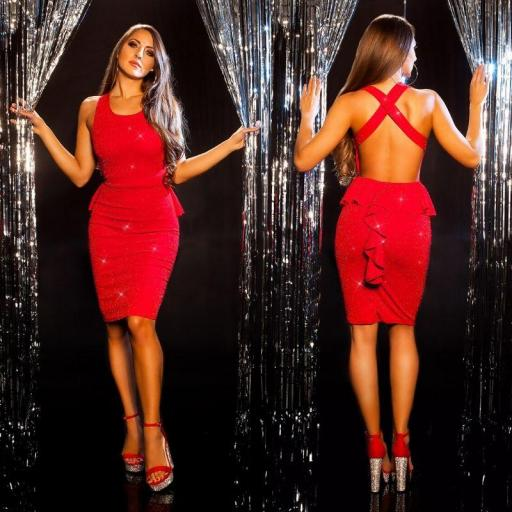 Vestido de fiesta elegante brillo rojo