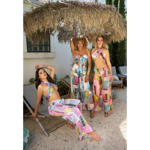 Conjunto verano top más pantalón rosa [3]
