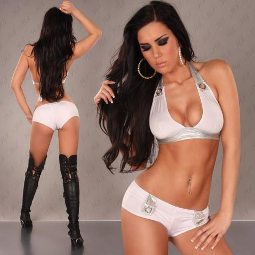 Gogo dance set blanco y plata