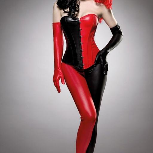 Arlequín disfraz rojo negro