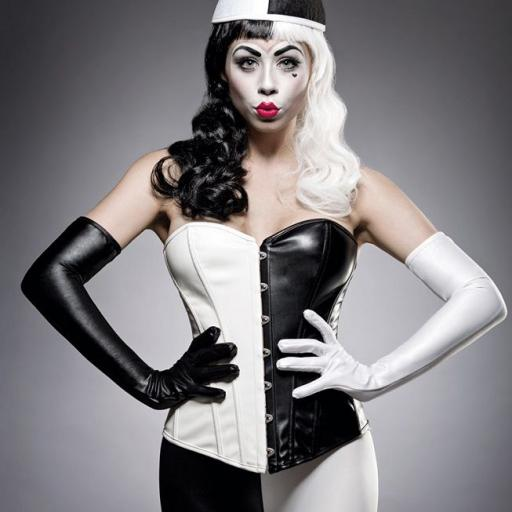 Arlequín sexy disfraz blanco y negro