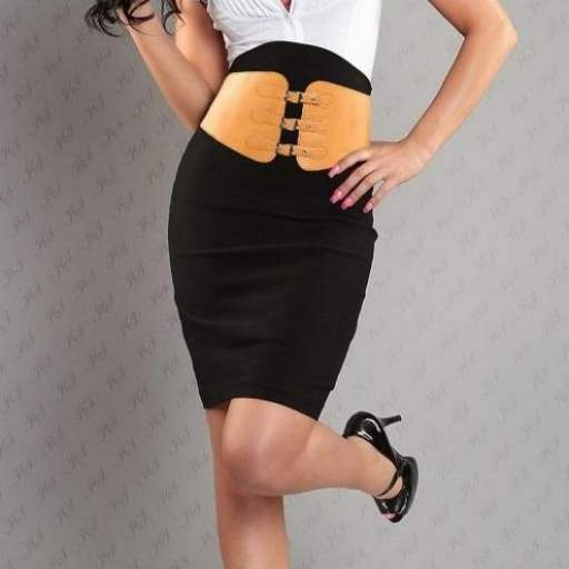 Falda elegante lápiz con cinturón