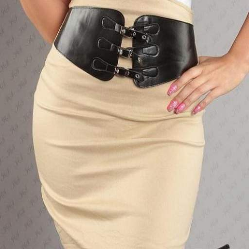 Falda atractiva con cinturón beige [3]