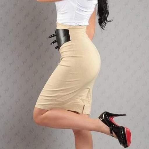 Falda atractiva con cinturón beige [1]
