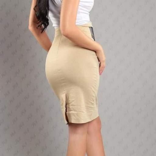 Falda atractiva con cinturón beige [2]