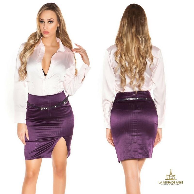 Falda lápiz púrpura con abertura