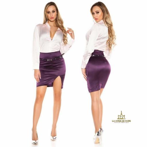 Falda lápiz púrpura con abertura  [2]