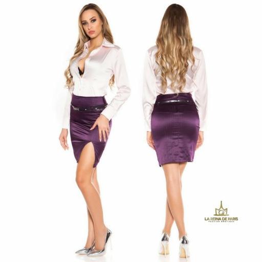 Falda lápiz púrpura con abertura  [1]