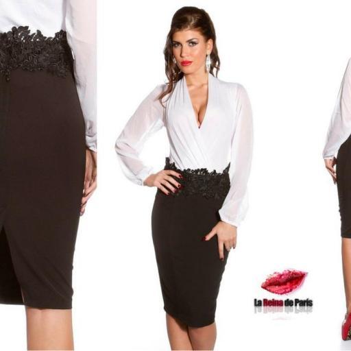 Faldas de lápiz con bordado negra  [2]