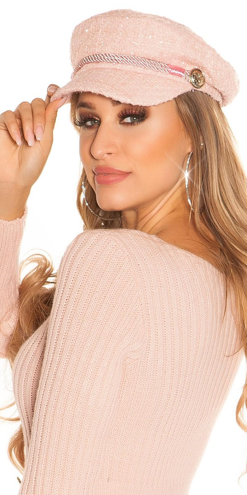 Gorra marinera look rosa