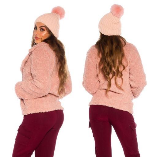 Gorro borla peluche rosa [2]