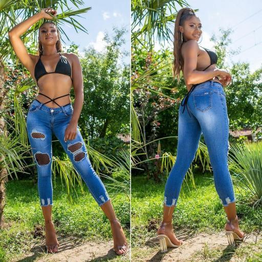 Jeans ajustados con parches