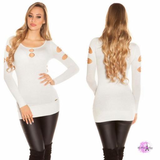 Suéter lurex blanco plateado y perlas