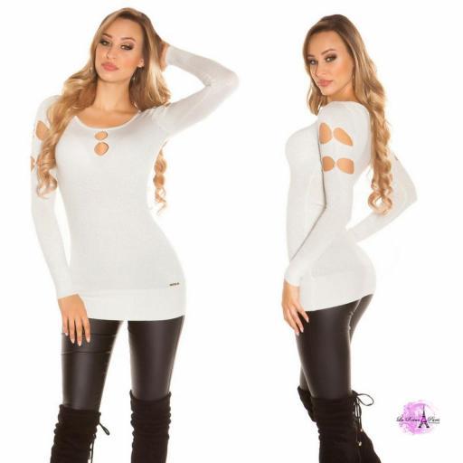 Suéter lurex blanco plateado y perlas  [1]