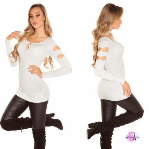 Suéter lurex blanco plateado y perlas  [2]