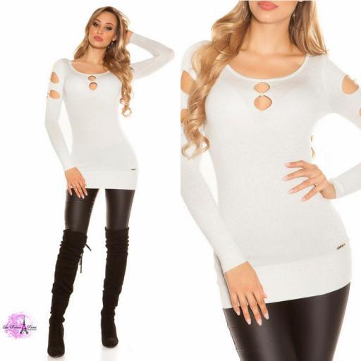 Suéter lurex blanco plateado y perlas  [3]