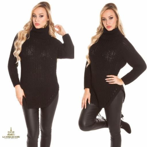 Jersey moda aberturas negro
