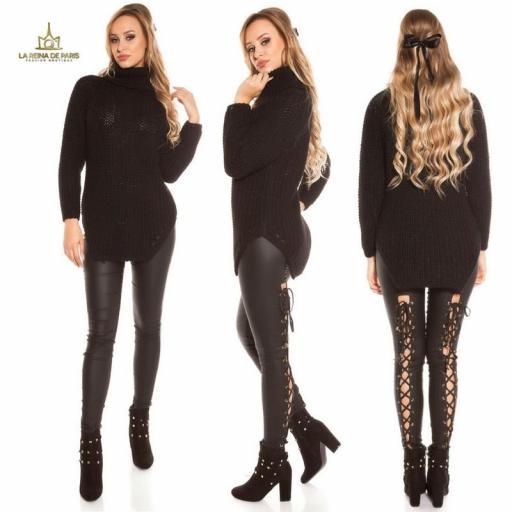 Jersey moda aberturas negro  [3]
