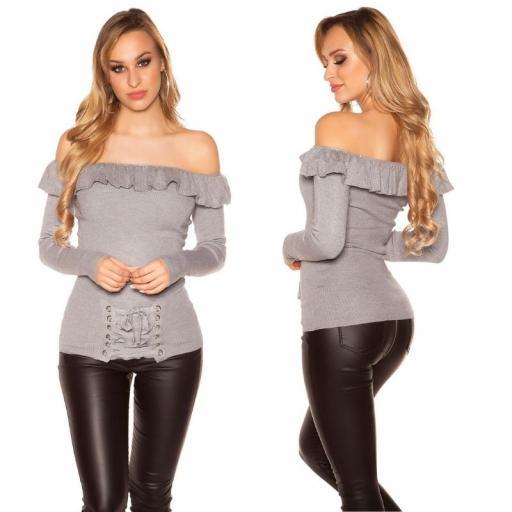 Jersey con volantes y cordones gris [1]