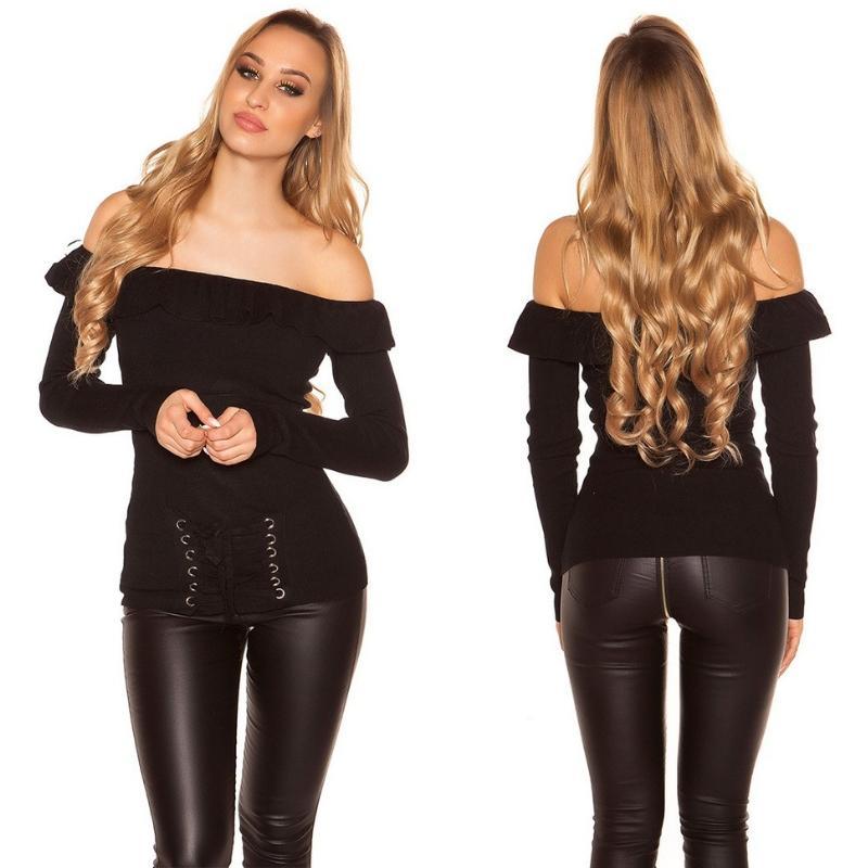 Jersey con volantes y cordones negro