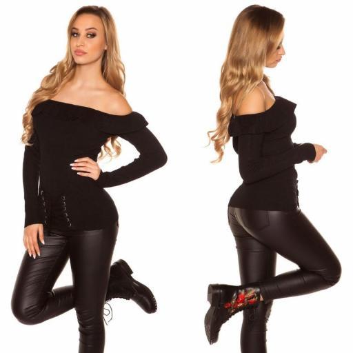 Jersey con volantes y cordones negro [2]