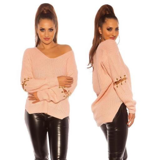 Suéter holgado rosa con cadenas