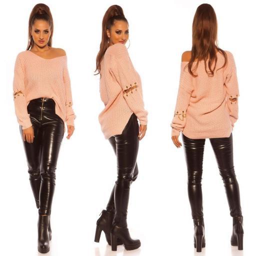Suéter holgado rosa con cadenas  [2]