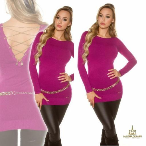 Jersey largo lacing chain violeta