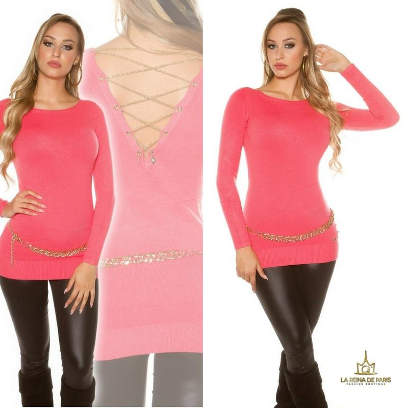 Jersey largo lacing chain coral