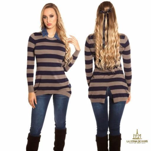 Jumper chic trendy con cuello de jean  [2]
