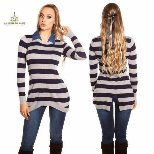 Jumper largo fashion con cuello de jean