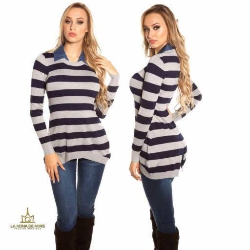Jumper largo fashion con cuello de jean  [2]