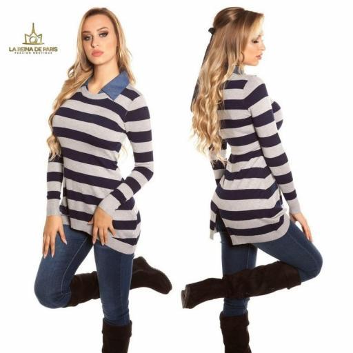 Jumper largo fashion con cuello de jean  [1]